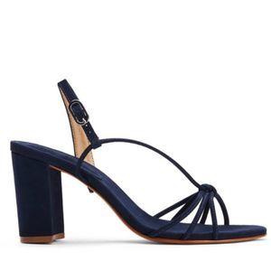 Schutz Rita Suede Sandal Heels Snailfish Blue 8